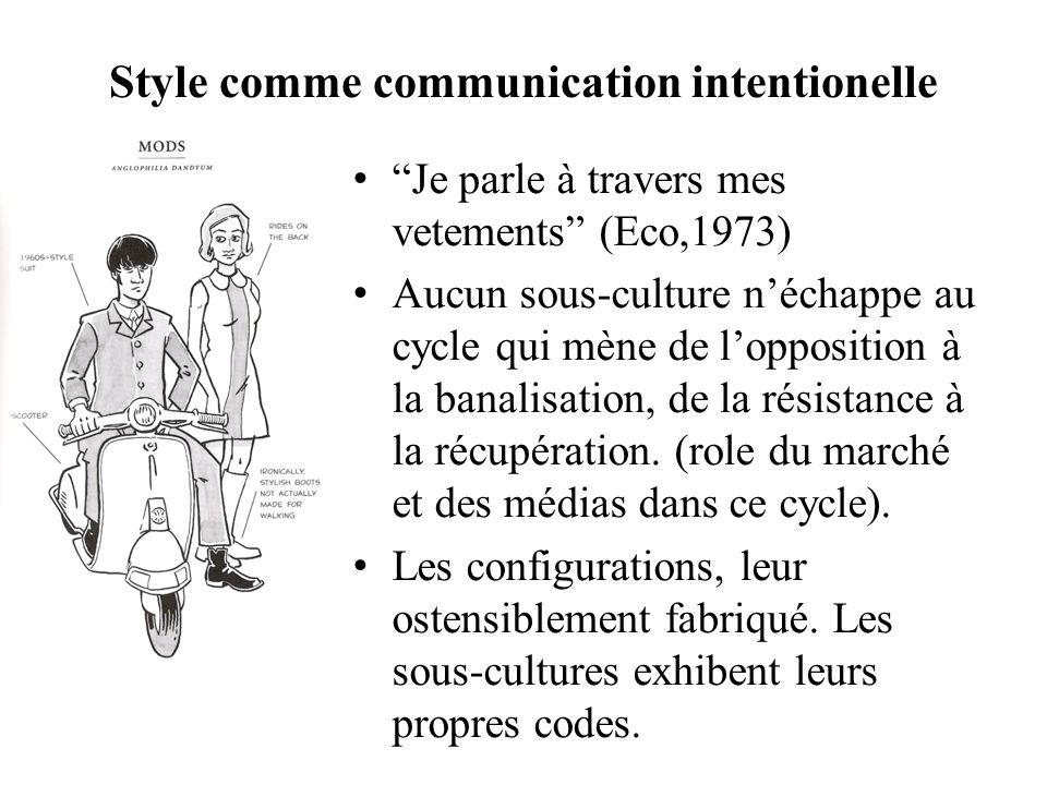 Style comme communication intentionelle Je parle à travers mes vetements (Eco,1973) Aucun sous-culture néchappe au cycle qui mène de lopposition à la