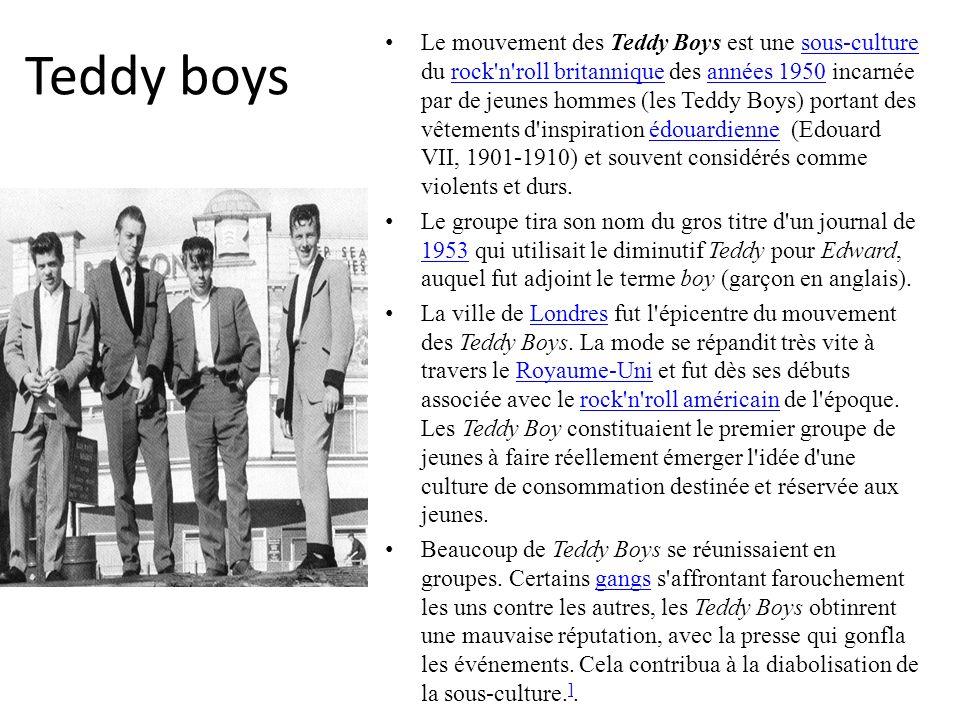 Teddy boys Le mouvement des Teddy Boys est une sous-culture du rock'n'roll britannique des années 1950 incarnée par de jeunes hommes (les Teddy Boys)