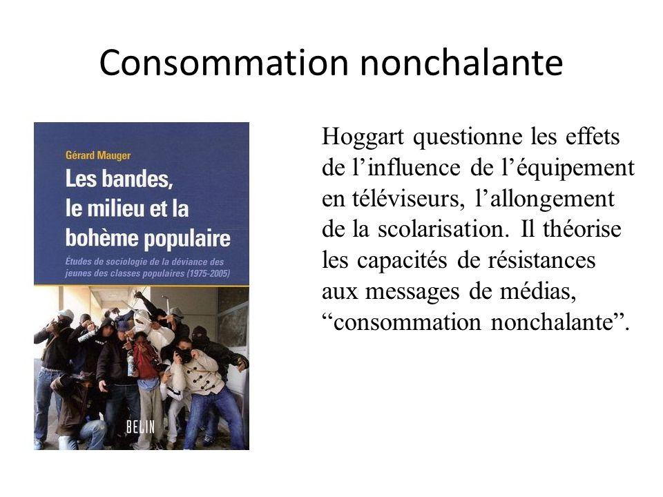 Consommation nonchalante Hoggart questionne les effets de linfluence de léquipement en téléviseurs, lallongement de la scolarisation. Il théorise les
