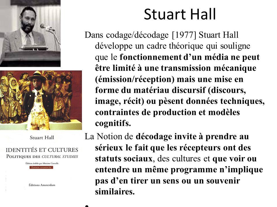 Stuart Hall Dans codage/décodage [1977] Stuart Hall développe un cadre théorique qui souligne que le fonctionnement dun média ne peut être limité à un