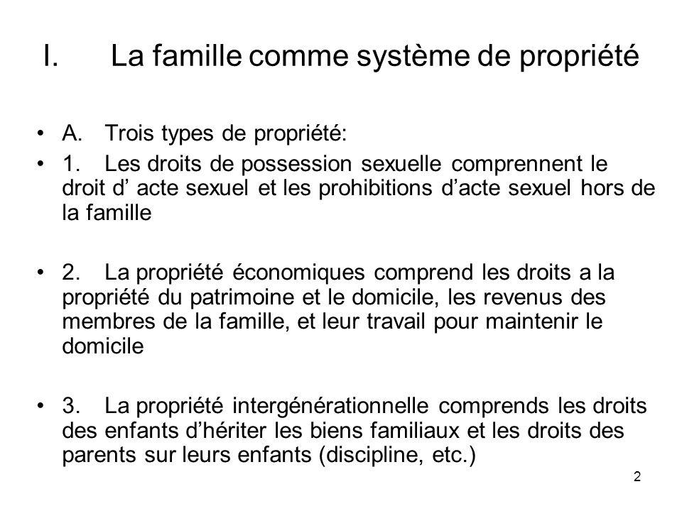 2 I.La famille comme système de propriété A.Trois types de propriété: 1.Les droits de possession sexuelle comprennent le droit d acte sexuel et les pr