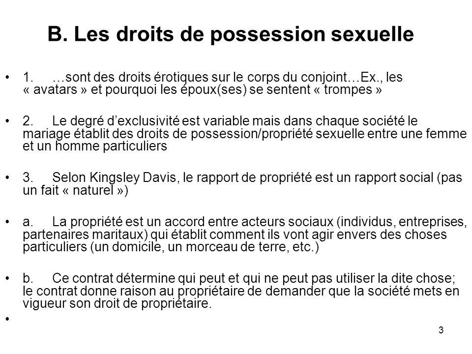 3 B. Les droits de possession sexuelle 1.…sont des droits érotiques sur le corps du conjoint…Ex., les « avatars » et pourquoi les époux(ses) se senten