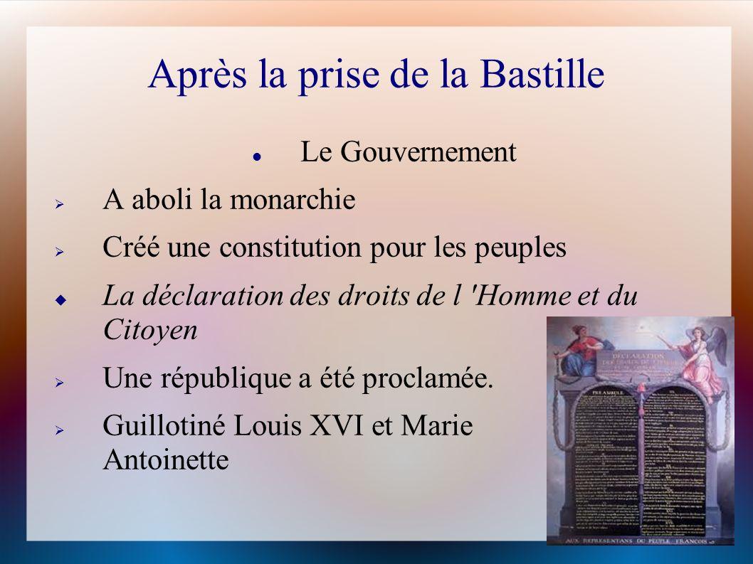 Après la prise de la Bastille Le Gouvernement A aboli la monarchie Créé une constitution pour les peuples La déclaration des droits de l 'Homme et du