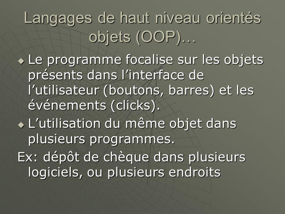 Langages de haut niveau orientés objets (OOP)… Le programme focalise sur les objets présents dans linterface de lutilisateur (boutons, barres) et les événements (clicks).