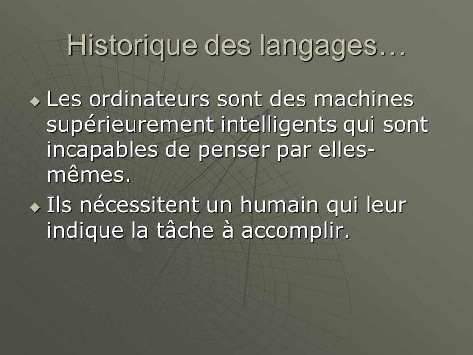 Historique des langages… Les ordinateurs sont des machines supérieurement intelligents qui sont incapables de penser par elles- mêmes. Les ordinateurs