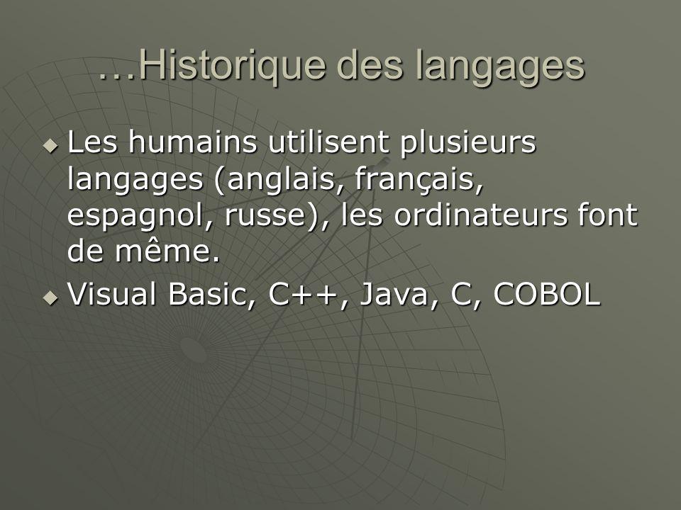 …Historique des langages Les humains utilisent plusieurs langages (anglais, français, espagnol, russe), les ordinateurs font de même. Les humains util