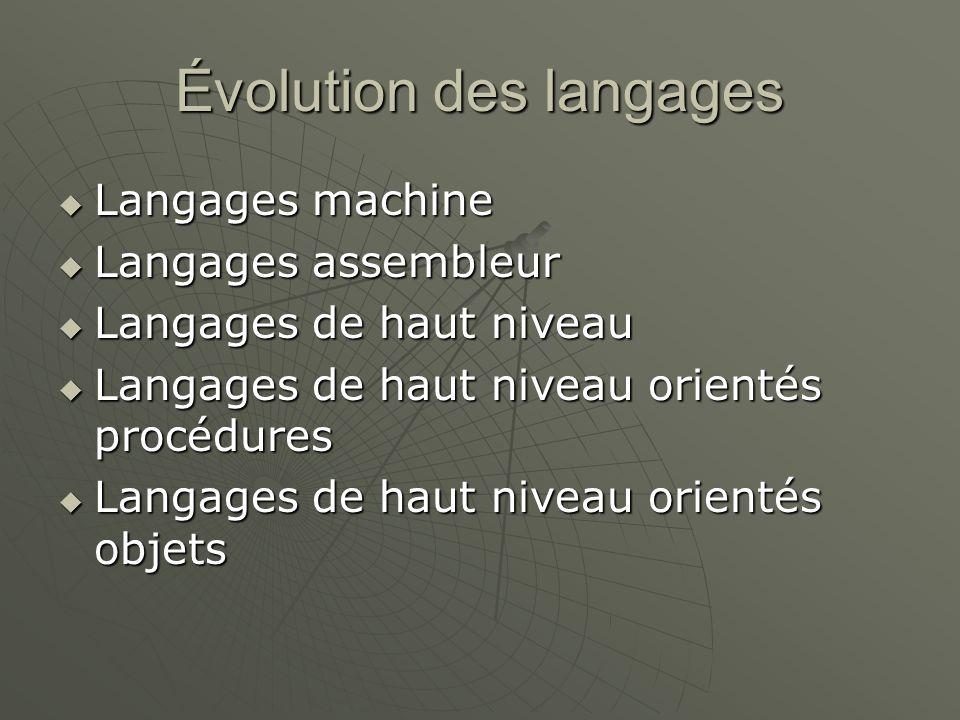 Évolution des langages Langages machine Langages machine Langages assembleur Langages assembleur Langages de haut niveau Langages de haut niveau Langa
