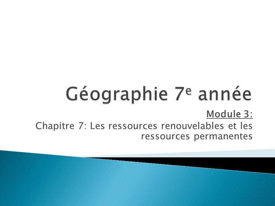 Module 3: Chapitre 7: Les ressources renouvelables et les ressources permanentes