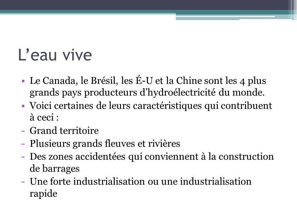 Leau vive Le Canada, le Brésil, les É-U et la Chine sont les 4 plus grands pays producteurs dhydroélectricité du monde. Voici certaines de leurs carac