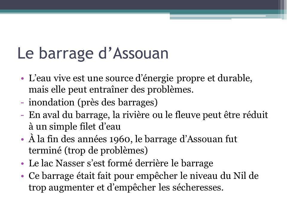 Le barrage dAssouan Leau vive est une source dénergie propre et durable, mais elle peut entraîner des problèmes. -inondation (près des barrages) -En a