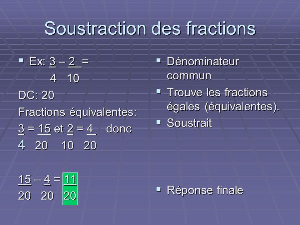 Soustraction des fractions Ex: 3 – 2 = Ex: 3 – 2 = 4 10 4 10 DC: 20 Fractions équivalentes: 3 = 15 et 2 = 4 donc 4 20 10 20 15 – 4 = 11 20 20 20 Dénominateur commun Dénominateur commun Trouve les fractions égales (équivalentes).