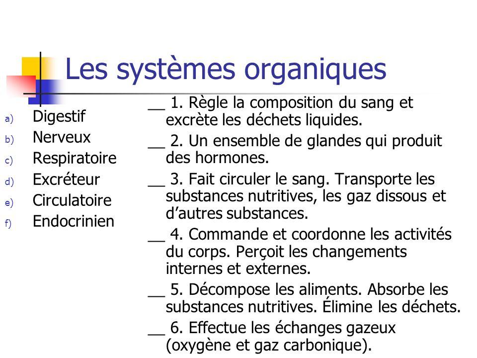 Les systèmes organiques a) Digestif b) Nerveux c) Respiratoire d) Excréteur e) Circulatoire f) Endocrinien __ 1. Règle la composition du sang et excrè