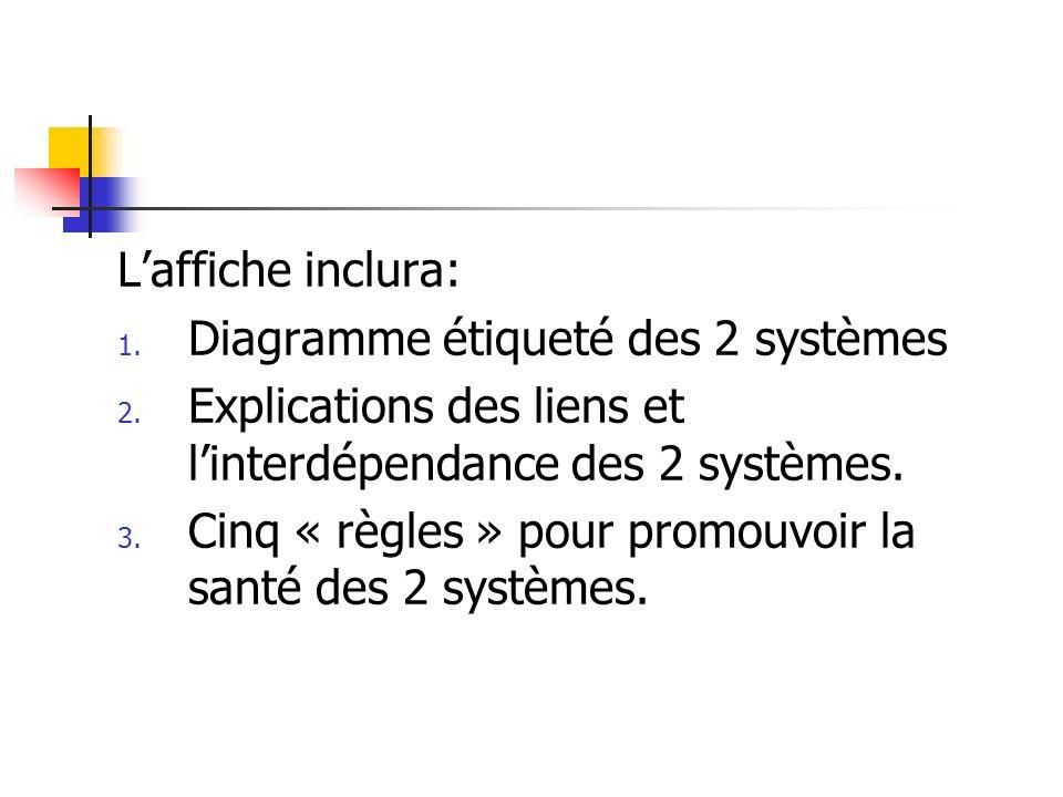 Laffiche inclura: 1. Diagramme étiqueté des 2 systèmes 2. Explications des liens et linterdépendance des 2 systèmes. 3. Cinq « règles » pour promouvoi