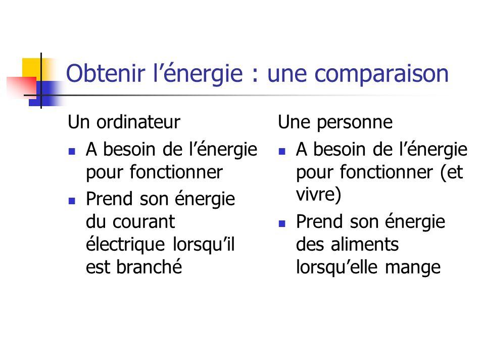 Obtenir lénergie : une comparaison Un ordinateur A besoin de lénergie pour fonctionner Prend son énergie du courant électrique lorsquil est branché Un