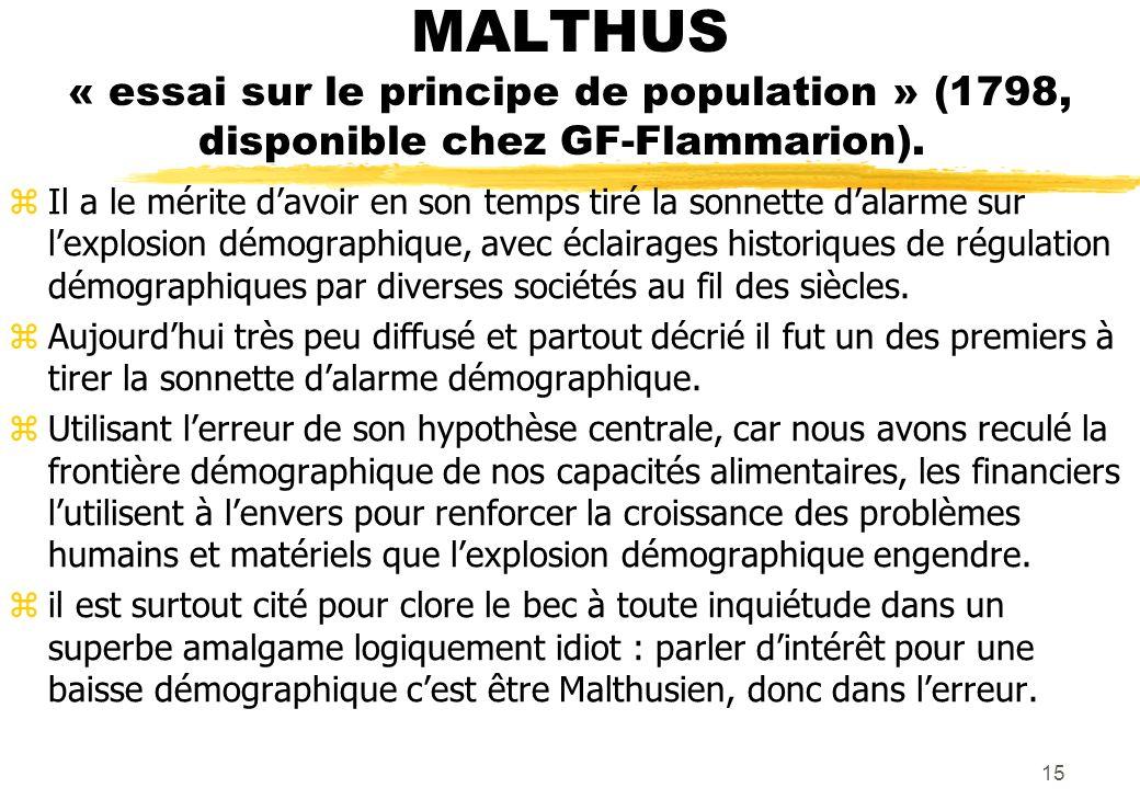 MALTHUS « essai sur le principe de population » (1798, disponible chez GF-Flammarion). zIl a le mérite davoir en son temps tiré la sonnette dalarme su