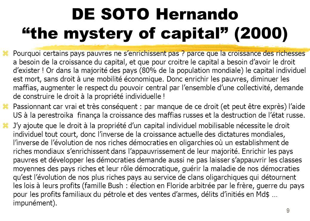 DE SOTO Hernando the mystery of capital (2000) zPourquoi certains pays pauvres ne senrichissent pas ? parce que la croissance des richesses a besoin d