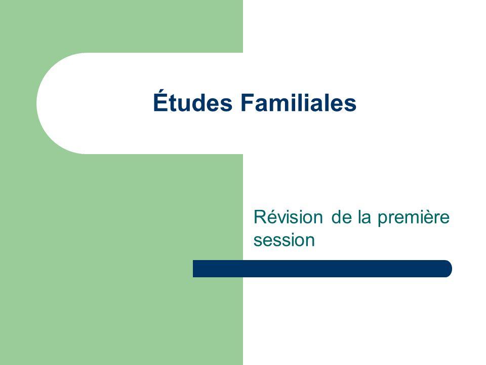 Études Familiales Révision de la première session
