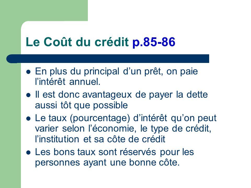 Le Coût du crédit p.85-86 En plus du principal dun prêt, on paie lintérêt annuel.