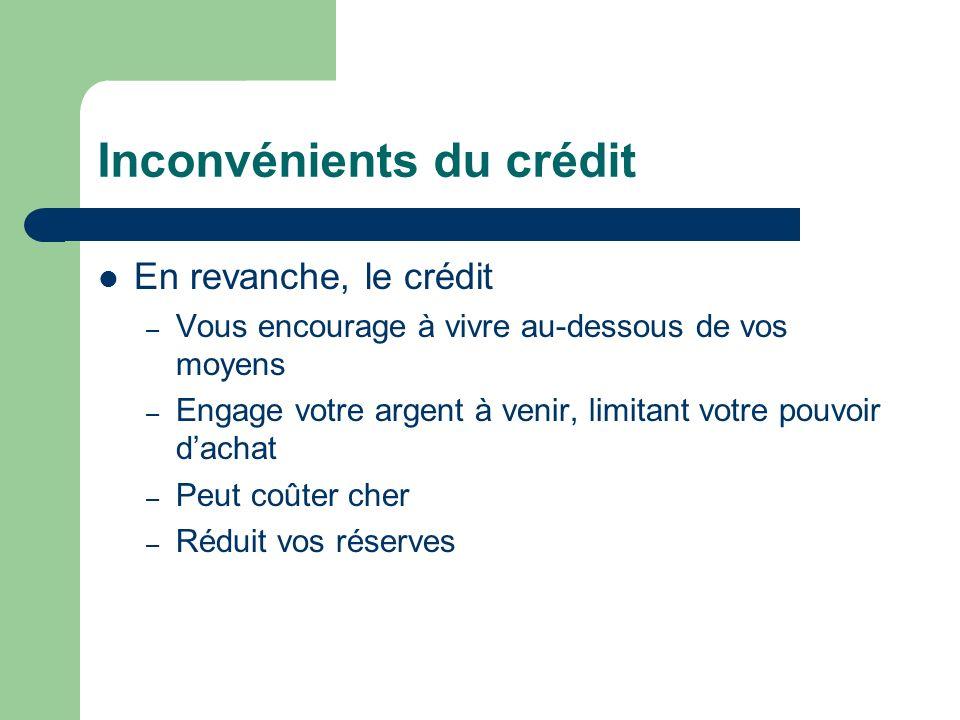 Inconvénients du crédit En revanche, le crédit – Vous encourage à vivre au-dessous de vos moyens – Engage votre argent à venir, limitant votre pouvoir dachat – Peut coûter cher – Réduit vos réserves