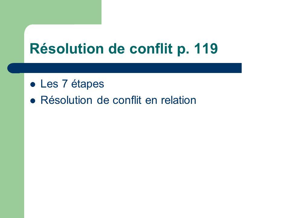Résolution de conflit p. 119 Les 7 étapes Résolution de conflit en relation