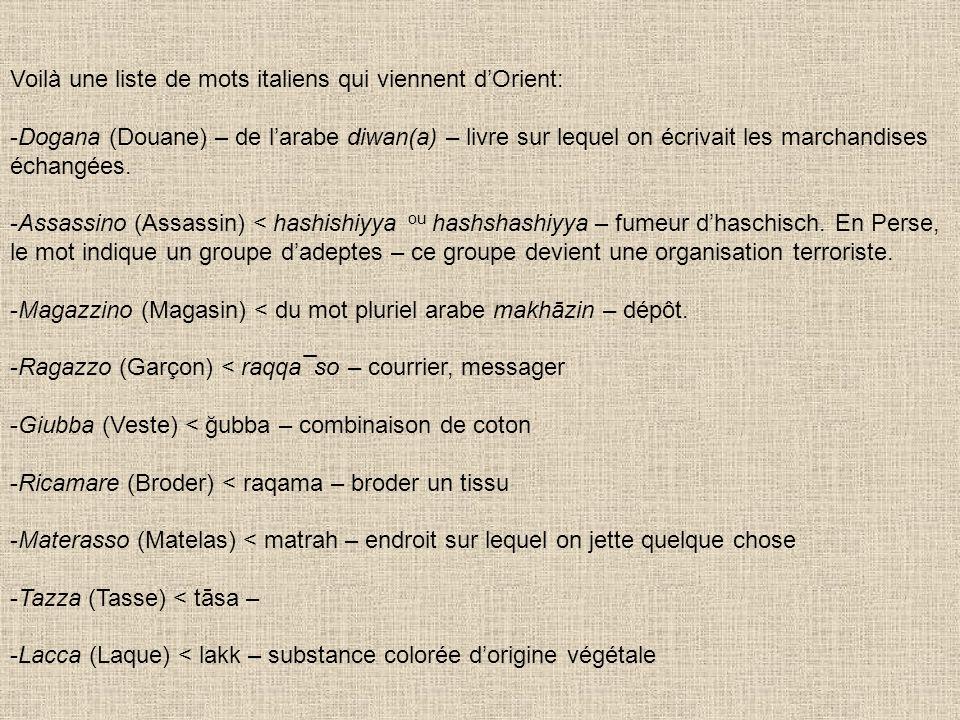 Voilà une liste de mots italiens qui viennent dOrient: -Dogana (Douane) – de larabe diwan(a) – livre sur lequel on écrivait les marchandises échangées.