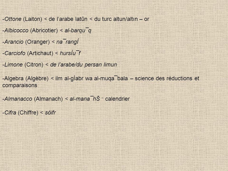 -Ottone (Laiton) < de larabe latūn < du turc altun/altın – or -Albicocco (Abricotier) < al-barqu¯q -Arancio (Oranger) < na¯rangÍ -Carciofo (Artichaut)