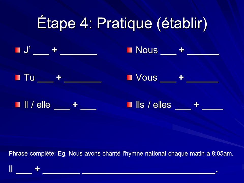 Étape 4: Pratique (établir) J ___ + _______ Tu ___ + _______ Il / elle ___ + ___ Nous ___ + ______ Vous ___ + ______ Ils / elles ___ + ____ Phrase complète: Eg.