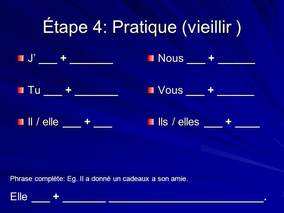 Étape 4: Pratique (vieillir ) J ___ + _______ Tu ___ + _______ Il / elle ___ + ___ Nous ___ + ______ Vous ___ + ______ Ils / elles ___ + ____ Phrase complète: Eg.