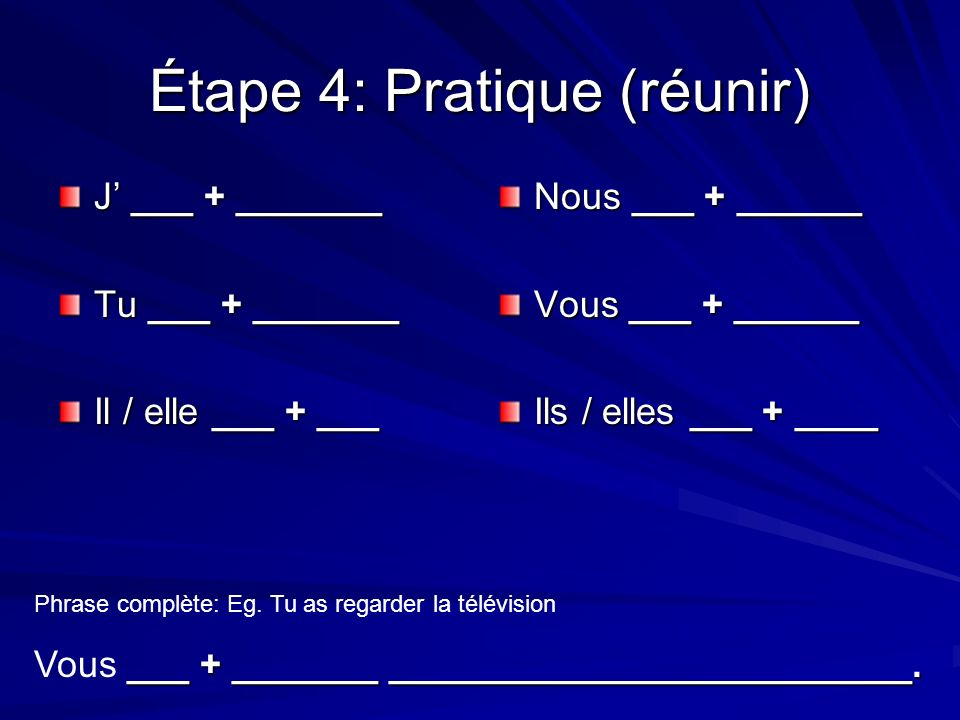 Étape 4: Pratique (réunir) J ___ + _______ Tu ___ + _______ Il / elle ___ + ___ Nous ___ + ______ Vous ___ + ______ Ils / elles ___ + ____ Phrase complète: Eg.