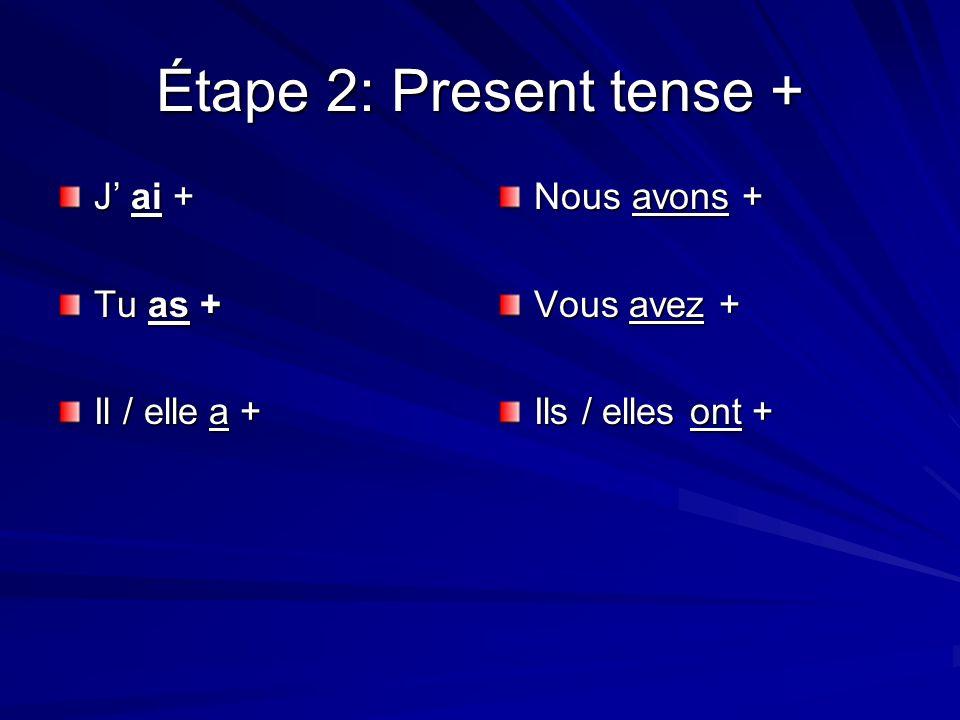 Étape 2: Present tense + J ai + Tu as + Il / elle a + Nous avons + Vous avez + Ils / elles ont +