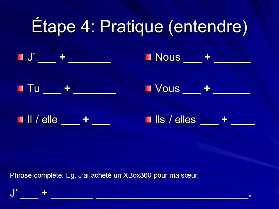 Étape 4: Pratique (entendre) J ___ + _______ Tu ___ + _______ Il / elle ___ + ___ Nous ___ + ______ Vous ___ + ______ Ils / elles ___ + ____ Phrase complète: Eg.
