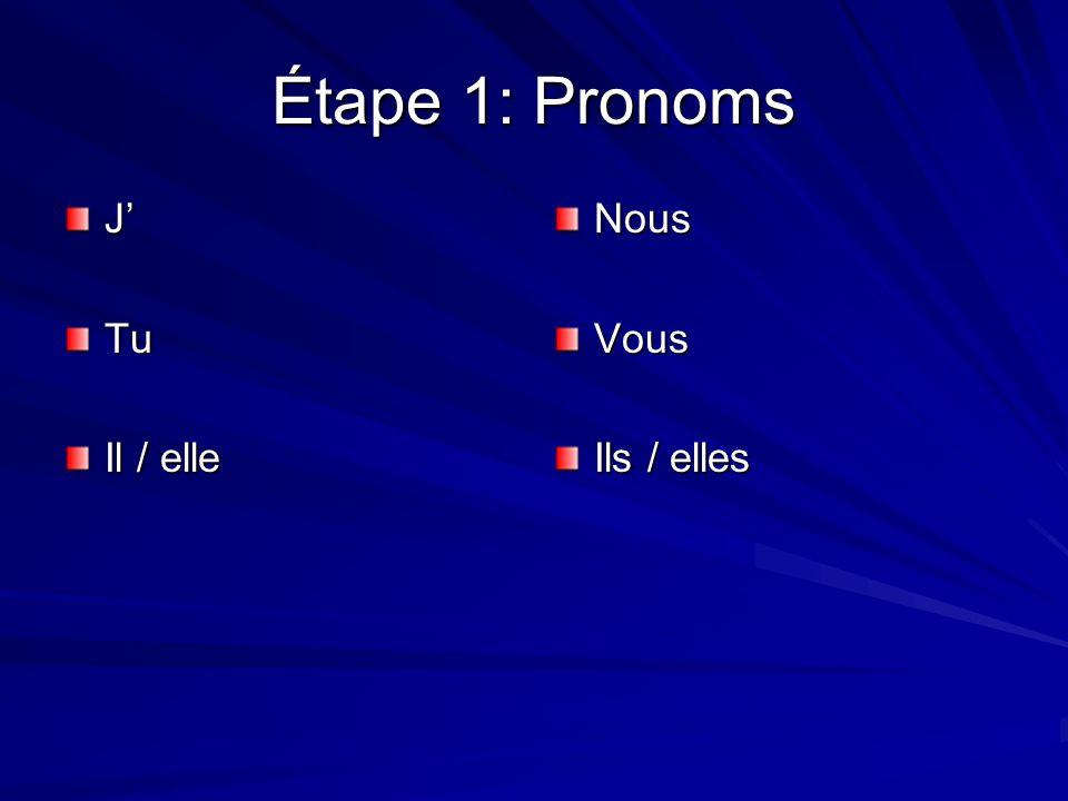 Étape 1: Pronoms JTu Il / elle NousVous Ils / elles