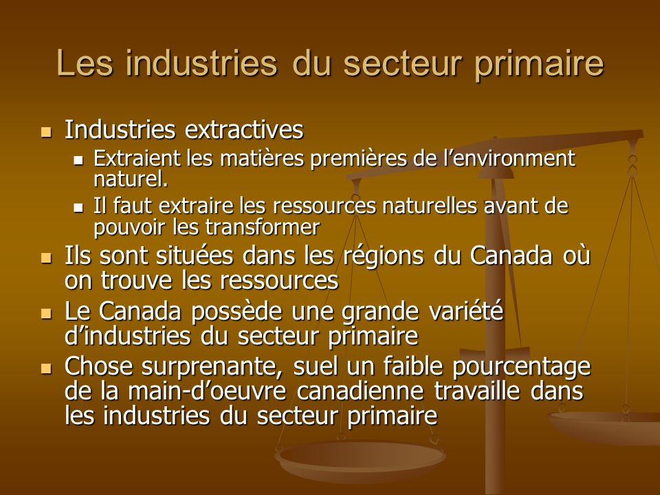 Les industries du secteur primaire Industries extractives Industries extractives Extraient les matières premières de lenvironment naturel.