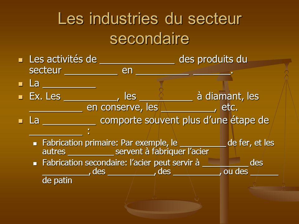 Les industries du secteur secondaire Les activités de ______________ des produits du secteur __________ en __________ _______. Les activités de ______
