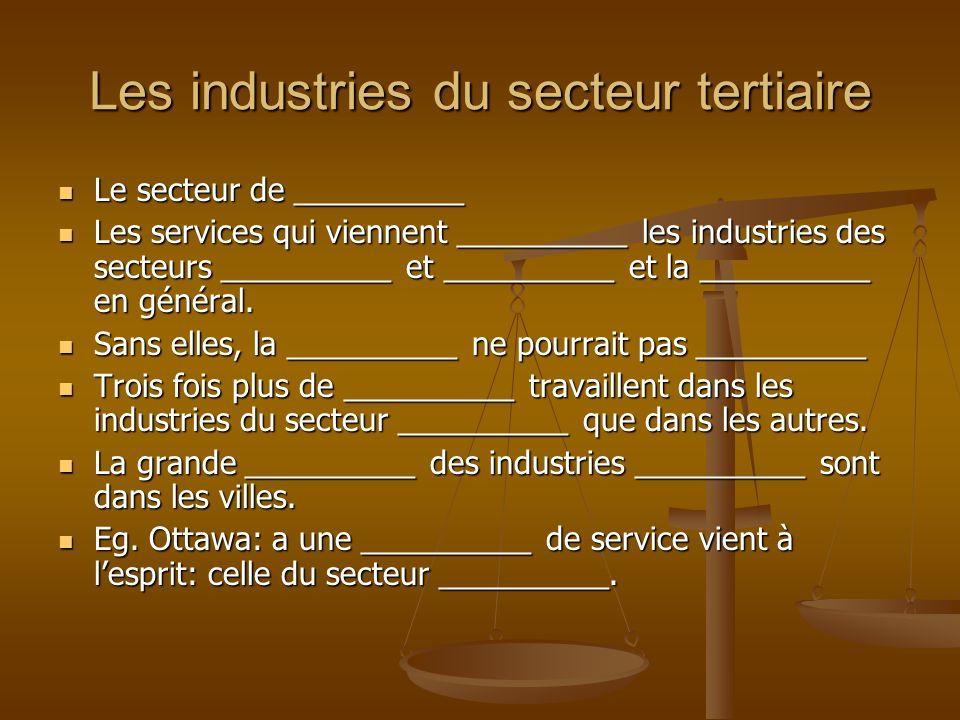 Les industries du secteur tertiaire Le secteur de __________ Le secteur de __________ Les services qui viennent __________ les industries des secteurs __________ et __________ et la __________ en général.