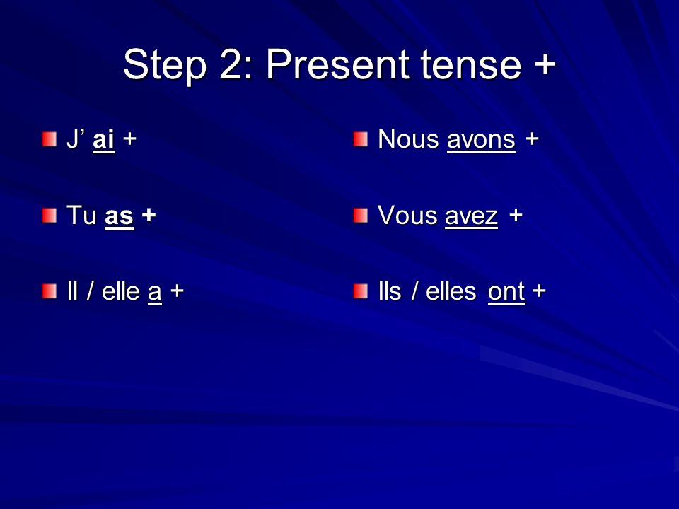 Step 2: Present tense + J ai + Tu as + Il / elle a + Nous avons + Vous avez + Ils / elles ont +