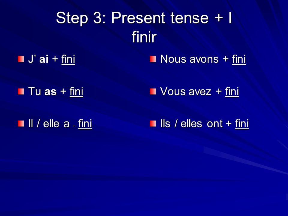 Step 3: Present tense + I finir J ai + fini Tu as + fini Il / elle a + fini Nous avons + fini Vous avez + fini Ils / elles ont + fini