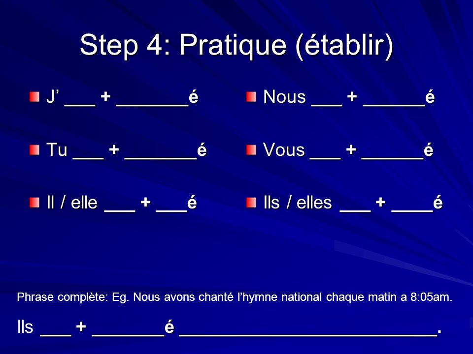 Step 4: Pratique (établir) J ___ + _______é Tu ___ + _______é Il / elle ___ + ___é Nous ___ + ______é Vous ___ + ______é Ils / elles ___ + ____é Phras