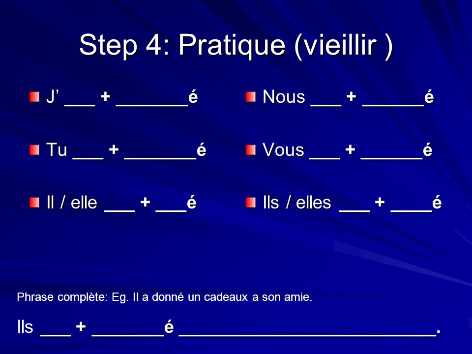 Step 4: Pratique (vieillir ) J ___ + _______é Tu ___ + _______é Il / elle ___ + ___é Nous ___ + ______é Vous ___ + ______é Ils / elles ___ + ____é Phrase complète: Eg.