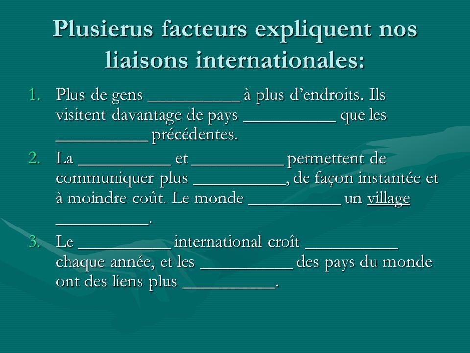 Plusierus facteurs expliquent nos liaisons internationales: 1.Plus de gens __________ à plus dendroits.