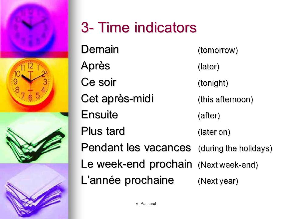 V. Passerat 3- Time indicators Demain(tomorrow) Après(later) Ce soir(tonight) Cet après-midi(this afternoon) Ensuite(after) Plus tard(later on) Pendan