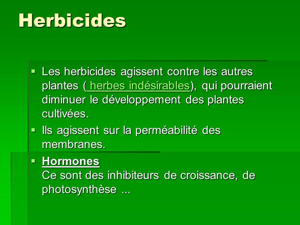 Herbicides Les herbicides agissent contre les autres plantes ( herbes indésirables), qui pourraient diminuer le développement des plantes cultivées.