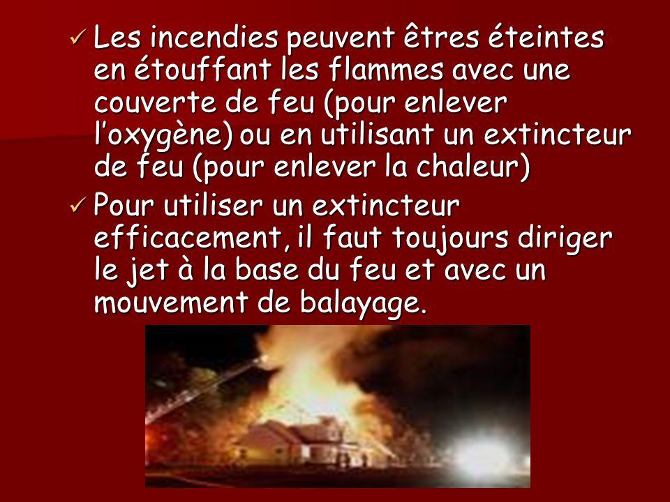 Les incendies peuvent êtres éteintes en étouffant les flammes avec une couverte de feu (pour enlever loxygène) ou en utilisant un extincteur de feu (p