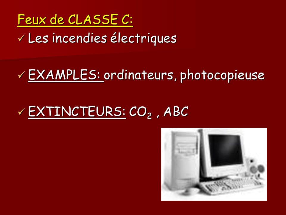 Feux de CLASSE C: Les incendies électriques Les incendies électriques EXAMPLES: ordinateurs, photocopieuse EXAMPLES: ordinateurs, photocopieuse EXTINC