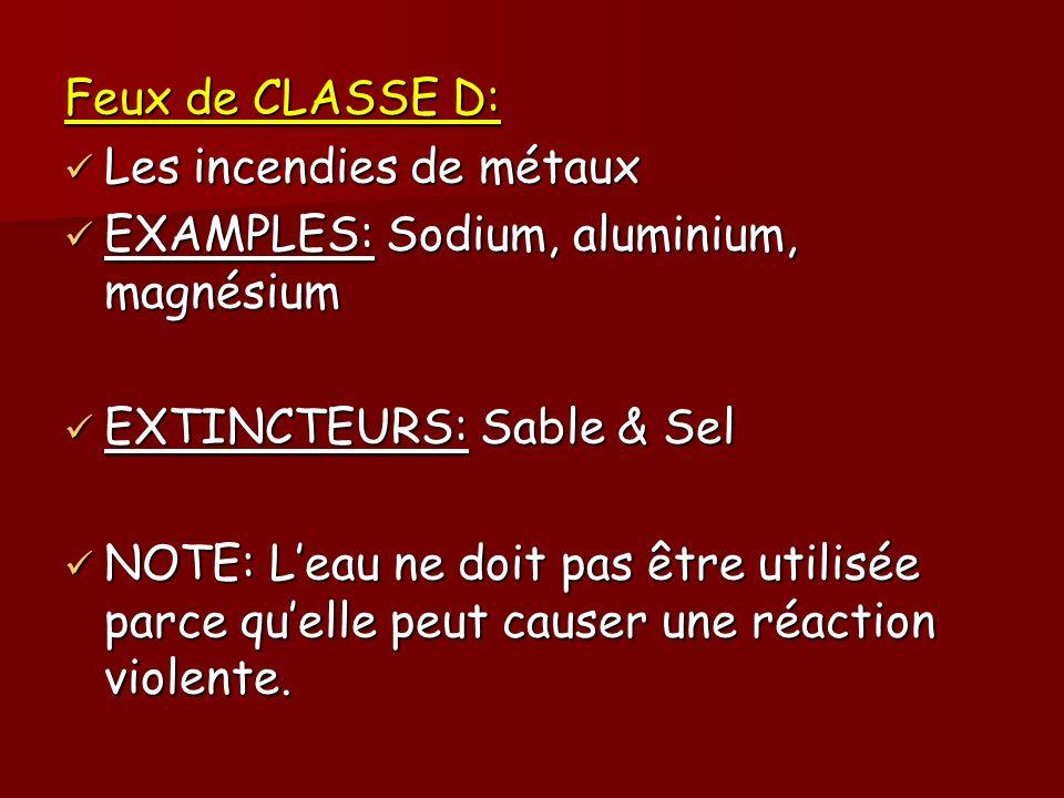Feux de CLASSE D: Les incendies de métaux Les incendies de métaux EXAMPLES: Sodium, aluminium, magnésium EXAMPLES: Sodium, aluminium, magnésium EXTINC