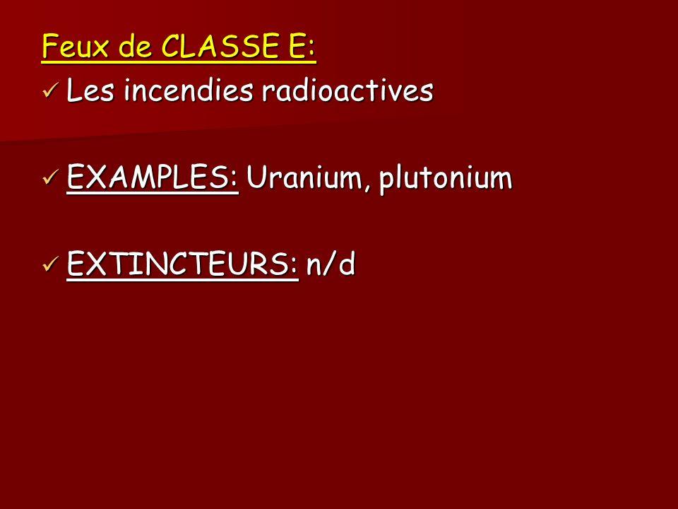 Feux de CLASSE E: Les incendies radioactives Les incendies radioactives EXAMPLES: Uranium, plutonium EXAMPLES: Uranium, plutonium EXTINCTEURS: n/d EXT