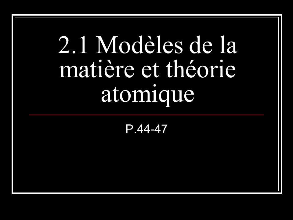 2.1 Modèles de la matière et théorie atomique P.44-47