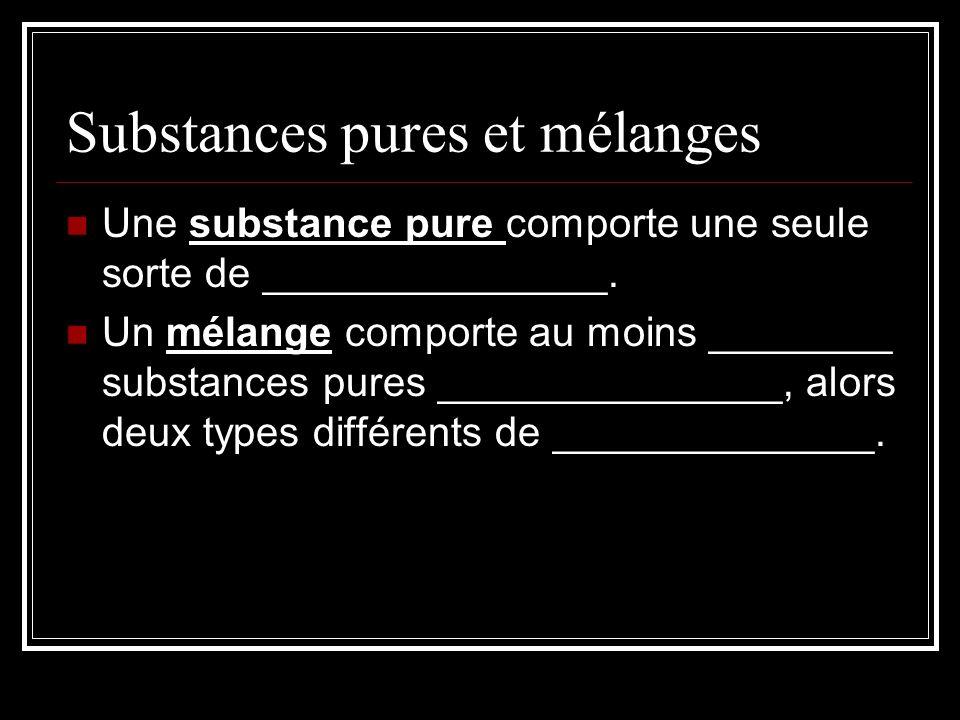 Substances pures et mélanges Une substance pure comporte une seule sorte de _______________.