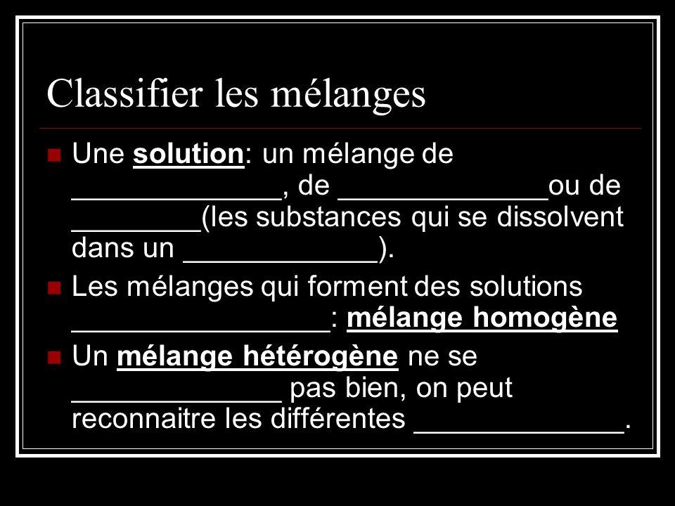 Classifier les mélanges Une solution: un mélange de _____________, de _____________ou de ________(les substances qui se dissolvent dans un ____________).
