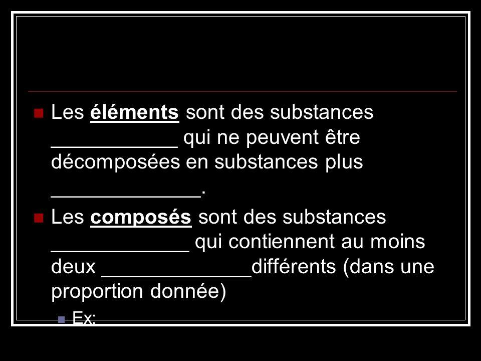 Les éléments sont des substances ___________ qui ne peuvent être décomposées en substances plus _____________.